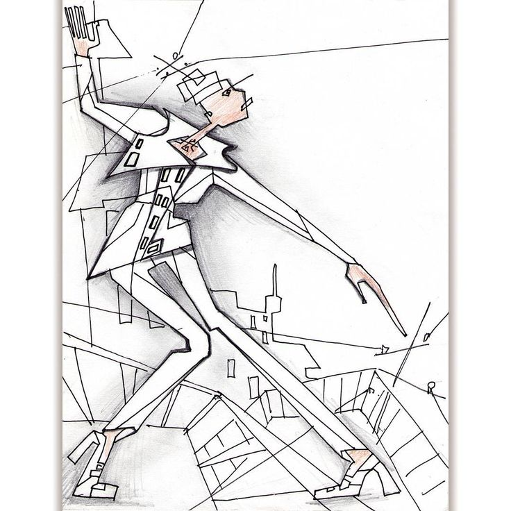 #abstract #geometric composition. Purpose to #portray all broken geometric lines, the #gerl in the big #city,#urban style, show stiffness, #constructivism. #Fashion #illustration #outline #sketch #handdrawn #unusual #cubism