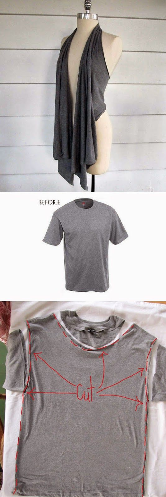 Laced Up Collar Sleeves   Needables:     Old T shirt  Plier Set  Jersy string  Scissors  Sewing Machine       via    No Sew Slashed Tee  ...