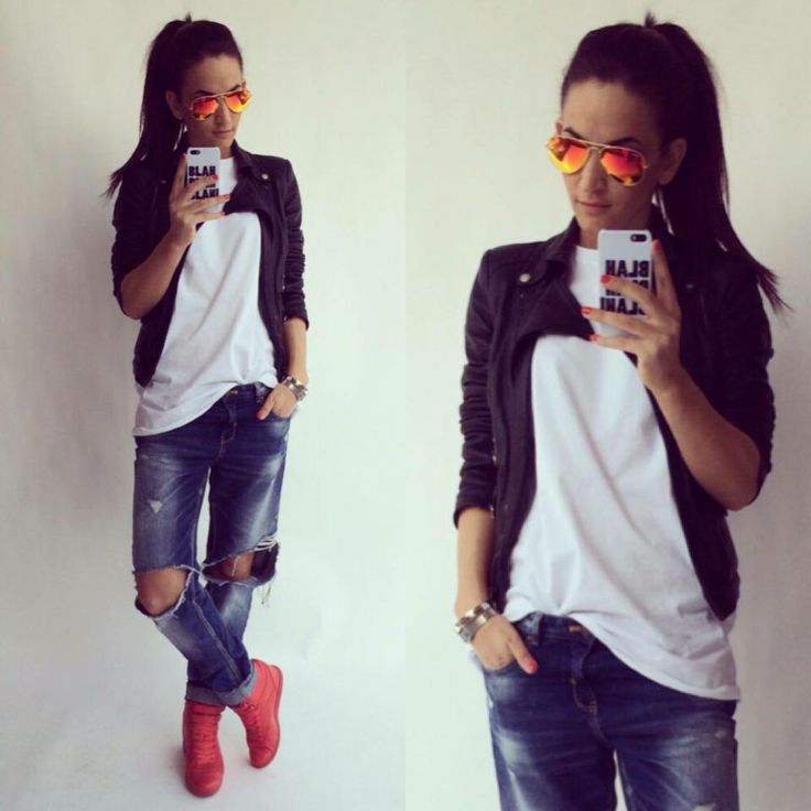 bf jeans, red sneakers and biker ::: zita debreceni