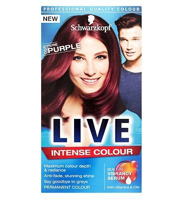 Schwarzkopf LIVE Color XXL HD 86 Pure Purple 20 Advantage card points. Experience true HD colour with Schwarzkopf LIVE Color XXL HD Pure Purple 86. A sumptuous, vivid violet shade with allusions of red. FREE Delivery on orders over 45 GBP. (Barc http://www.MightGet.com/april-2017-1/schwarzkopf-live-color-xxl-hd-86-pure-purple.asp