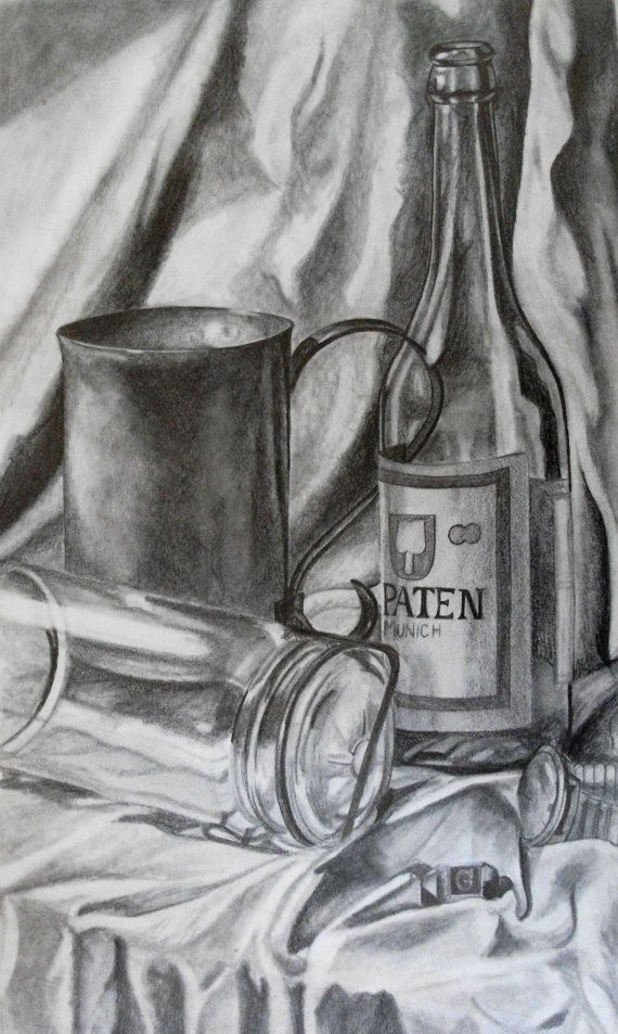 Glass and metallic objects are a very challenging subject for tonal drawing for