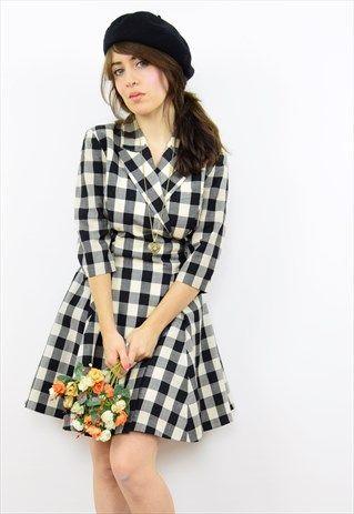 Vintage+90s+black+checked+wrap+mini+dress