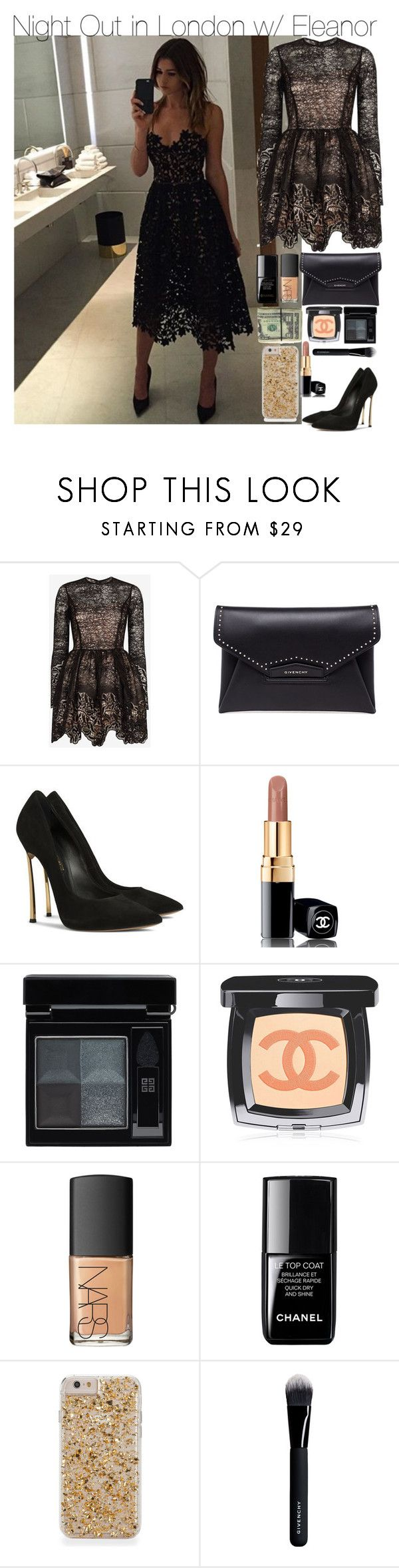 """""""Night Out in London w/ Eleanor"""" by your-fashion-lover ❤ liked on Polyvore featuring Calder, Alexis, Givenchy, Casadei, Chanel, NARS Cosmetics, le top, NightOut, eleanorcalder and instagram"""