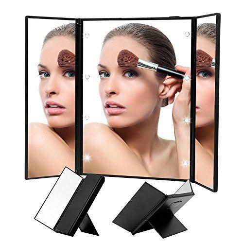 Triple Pliant Miroir, LED Miroir de beauté, Poche Miroir de Maquillage, compatible dans un coin obscur: Caractéristiques: Matériaux: ABS…