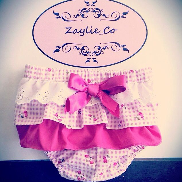 Zaylie_Co's gorgeous little girls frilly nappy cover with matching bow