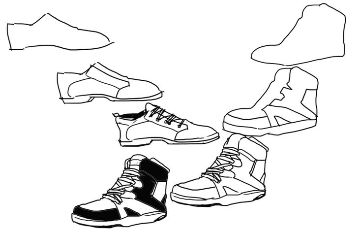 """kelpls: """" MY FROND asked me how i draw shoes and then i got really into it and drew a whole bunch of SHOES HAHAH I hope this helps someone DON""""T worry about getting the shape perfect at first bc you..."""