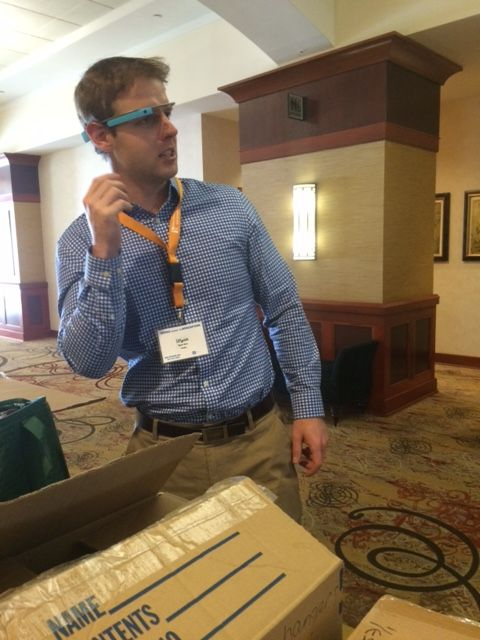 Our Google Rep, Wyatt, tries on Google Glass for the first time!