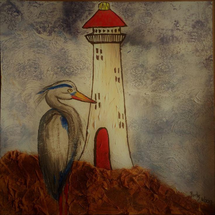"Barbs Mey The Craftroom Acrylic on Card ""Herons Watch"""