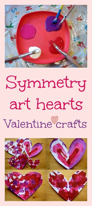Symmetry art valentine craft - beautiful kids art and math lesson in one