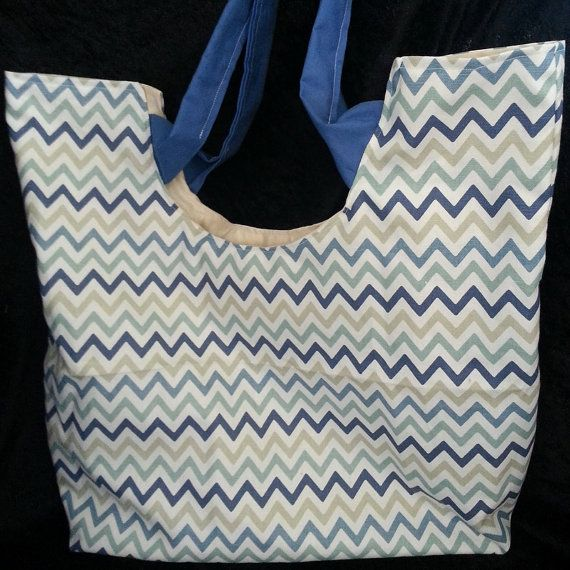 Blue Chevron Summer Beach Tote Bag by AnitaRoseDesigns on Etsy