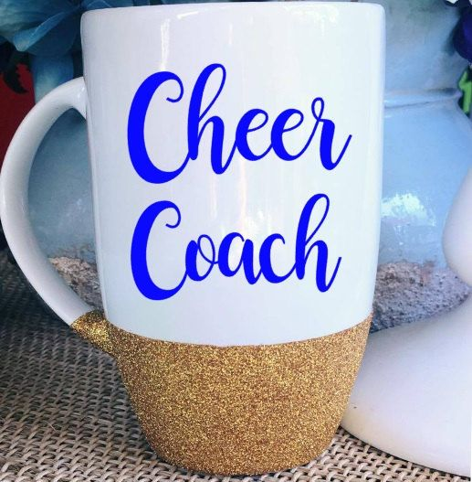 Cheer Coach Coffee Mug Glitter Mug Statement Mug Gift for Cheer Coach Gift for…