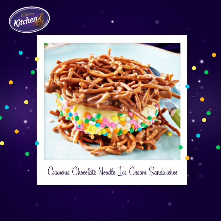 I used to love it when Mum made ice cream sandwiches! Cute and delicious these CRUNCHIE Chocolate Noodle Ice Cream Sandwiches lend the perfect creative touch to any birthday party. Grownups will love them too!  #chocolate #desserts #icecream #baking #bakinginspiration #recipeideas #CADBURY