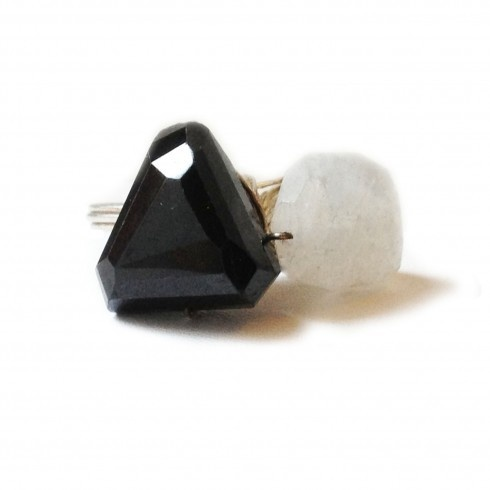 Duo Black Spinel Moonstone Ring