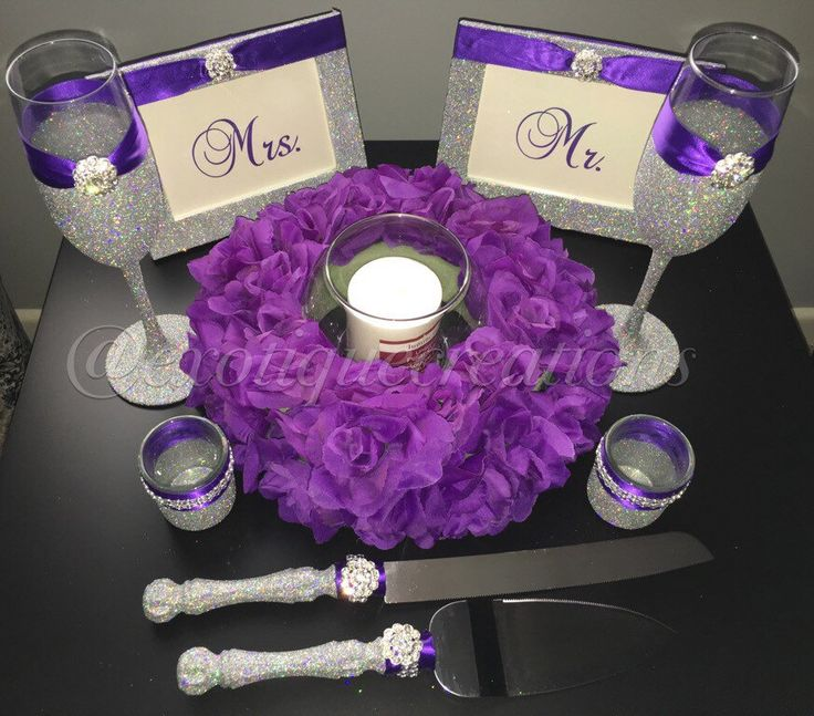 Silver Bling And Purple 10pc Wedding Set With Centerpiece Toasting Flutes  Cake Server Set Candle Holders 4x6 Frames
