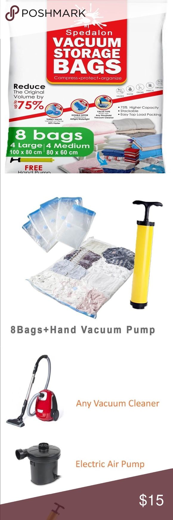 Vacuum Storage Bags 8 packs ReUsable space saver with free Hand Pump for travel packing - Best Seal Bags for Clothes, Comforters, Pillows, Curtains, Blankets Total of 8 space saving bags  4 Large bags (40inX30in) 4 Medium sized bags (31inX25in) 1 Travel Pump Other