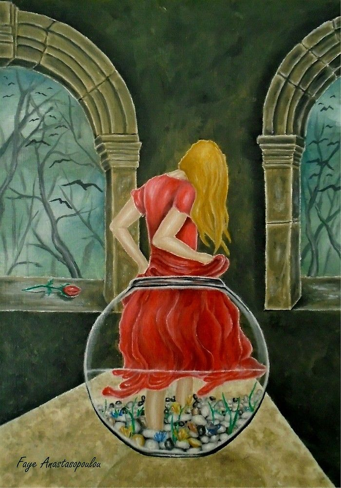 Painting, fishjar,fishbowl,girl,woman,female,feminine,figure,red,dress,long,hair,fantasy,medieval,building,arches,interior,night,mystery,mystical,psychedelic,whimsical,vibrant,vivid,colorful,impressive,cool,beautiful,delicate,magical,classical,mystery,dreamy,dreamlike,contemporary,imagination,surreal,figurative,cool,weird,unique,jar of wonders, fine,oil,wall,art,images,home,office,decor,artwork,modern,items,ideas,for sale,redbubble