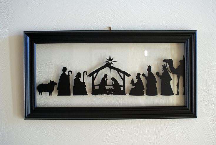 Nativity Silhouette made with a Silhouette link: http://tencowchick.com/2010/12/01/nativity-silhouette/