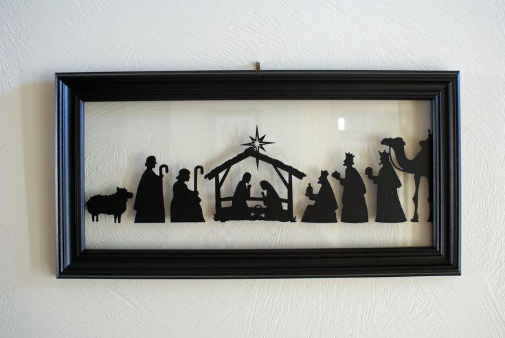 Nativity Silhouette made with a Silhouette  link: http://tencowchick.com/2010/12/01/nativity-silhouette/