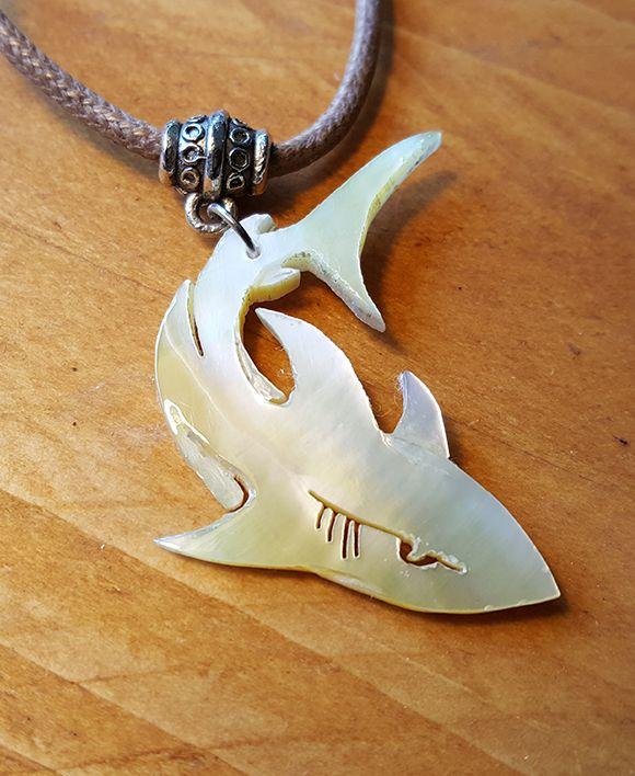 Cool shark necklace handmade by Tambora jewelry.