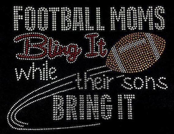 Rhinestone Football Mom T-Shirt Bling Shirt by DesignsbyDaffy