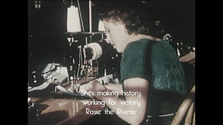 The Rosie the Riveter character first appeared in a song by Redd Evans and John Jacob Loeb, circa 1942. Here's a sampling of the lyrics:      All the day long,     Whether rain or shine,     She's a part of the assembly line. She's making history,      Working for victory,      Rosie the Riveter.     Keeps a sharp lookout for sabotage,     Sitting up there on the fuselage.     That little girl will do more than a male will do.
