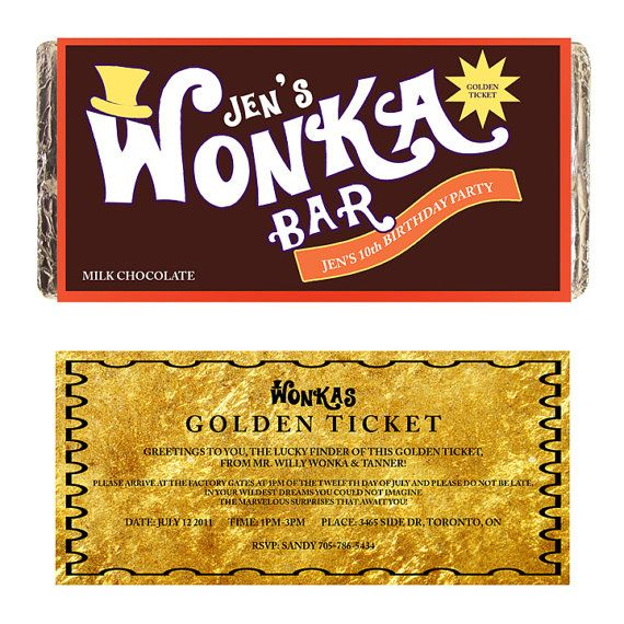 WONKA BAR customize Printable digital chocolate bar candy label for kids birthday party gift or invitation willy chocolate factory