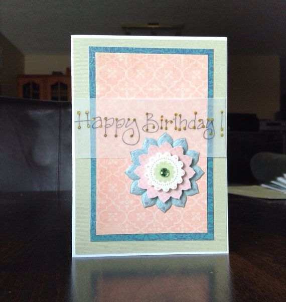 Hand made flower Happy Birthday card. 2 available by missbrightest, $5.00