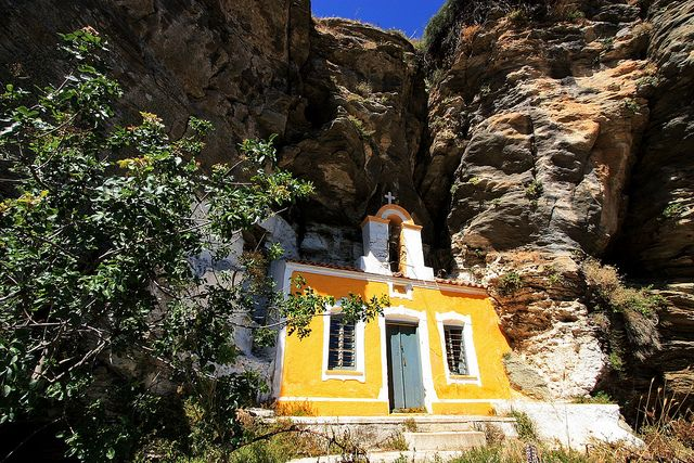 TRAVEL'IN GREECE Pretty yellow church nested in the rocks. Ioulida, #Kea island, #Cyclades, #Greece,Hellas, Summer in Kea