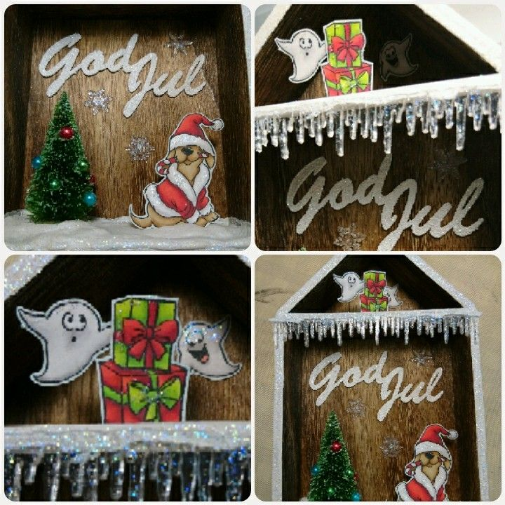 "Box house from Tim Holtz with stamps from Artimpressions and christmas die ""god jul"" by HC Design"