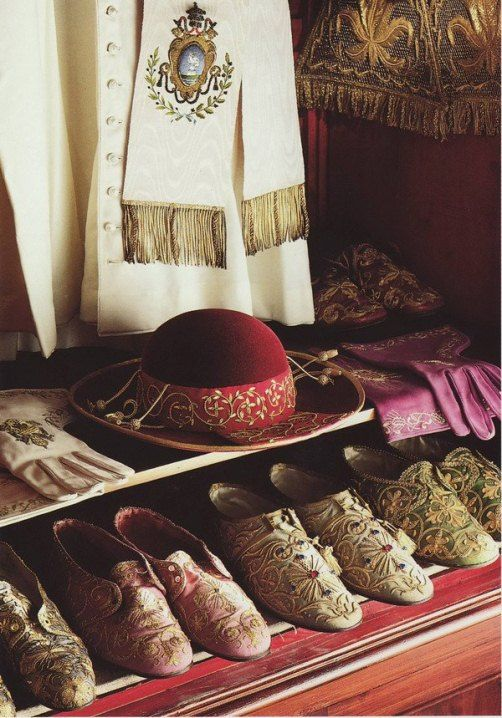 """Shoes, gloves, hat, and cassock of Pope Pius XII. Source: National Geographic, from the 1985 book """"Inside the Vatican""""."""