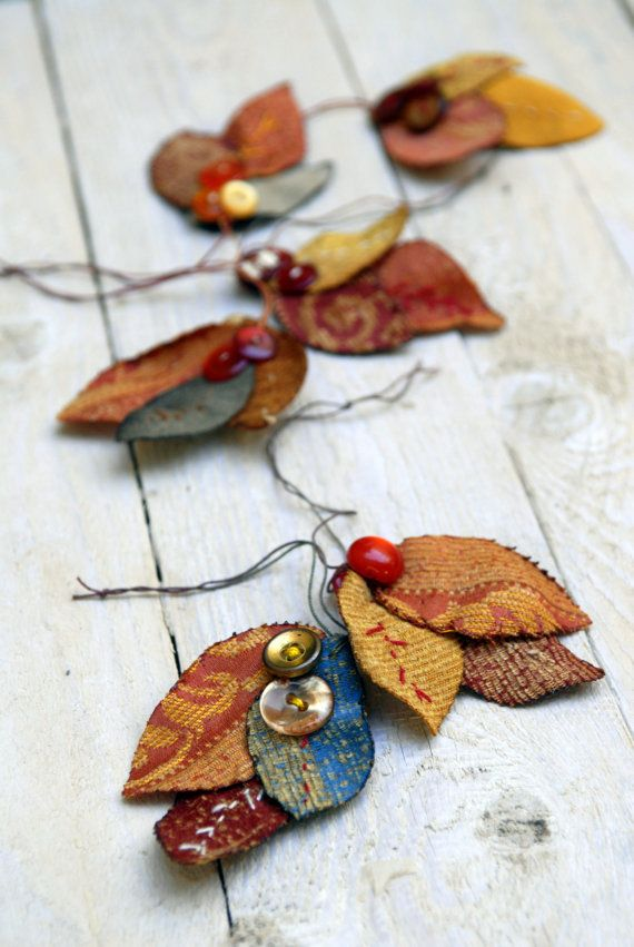 Autumn Leaf Ornament  Embroidered Fabric Leaf  Tagt Team by odpaam, $9.50