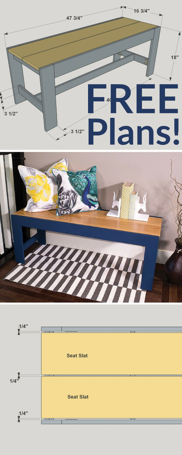 How to build a DIY Elegant Bench | Free printable project plans on buildsomething.com | Simple lines, bold colors, and easy construction make this bench a perfect project. Whether you use it in an entryway, in a hallway, or even put it to work for another purpose, it will add style and function that you'll enjoy for years.