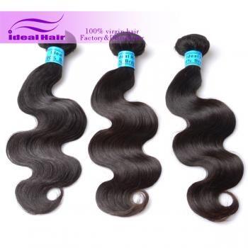 Unprocessed brazilian hair extension Body wave double drawn brazilian hair-Ideal Virgin Hair