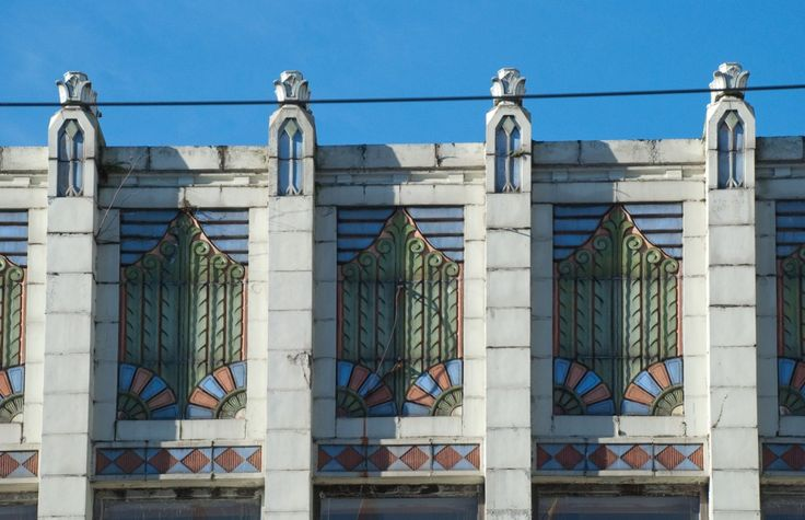 The Power Block is located near the intersection of Granville and Robson streets. The Power Block's main building was originally a saloon, built in 1888; an Art Deco façade was added to the structure in 1929. The façade is an excellent example of early Art Deco, rich in ancient Egyptian details. (Photo courtesy Vancouver Heritage Society Flickr)