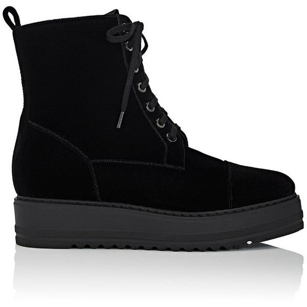 Barneys New York Women's Velvet Platform-Wedge Ankle Boots ($395) ❤ liked on Polyvore featuring shoes, boots, ankle booties, ankle boots, black, laced up wedge booties, wedge ankle boots, black wedge booties and lace up platform booties