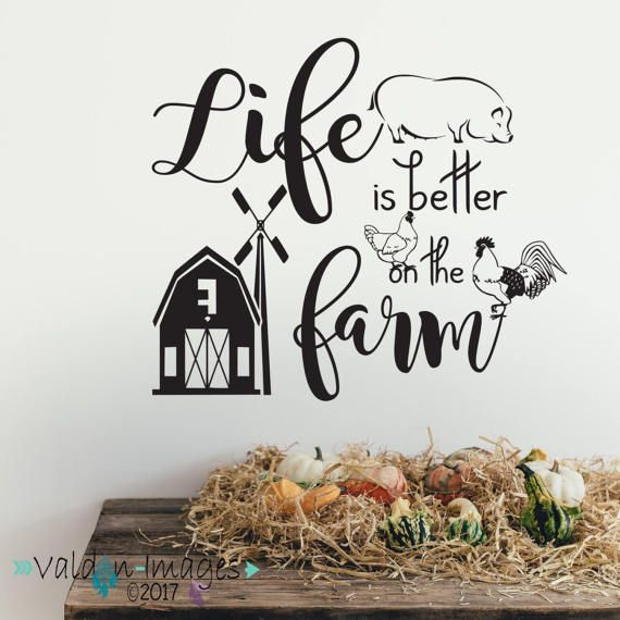 Get the farmhouse look. Farm life wall decal farm quote wall decal farm animals pig