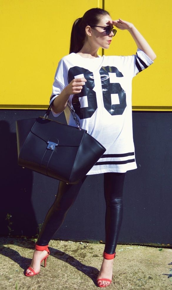I like the long athletic tee but; I would definitely swap the shoes for a sneaker wedge, and change the bag.
