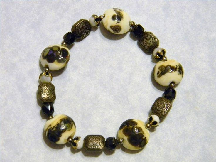 Black, White and Gold Art Glass Lampwork,Gemstone and Enamel Stretch Bracelet
