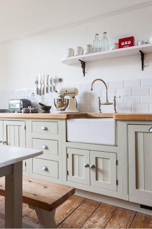 Mark Bolten photograph from Desire to Inspire - Kitchen with farmhouse sink, wooden countertops, pale green cabinets, rustic wooden floors, white subway tiles - basically to die for