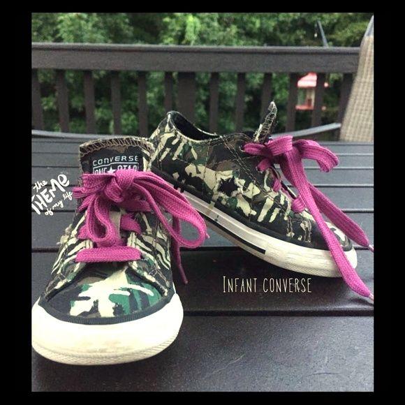 Infant camo converses Cute baby camo converses with purple laces Converse Shoes