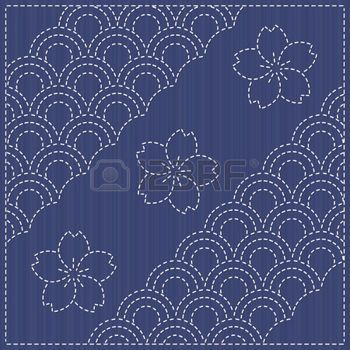 motif japonais: Sashiko motif - blooming cherry flowers. Traditional Japanese Embroidery Ornament with blooming sakura flowers. Seamless pattern. Floral backdrop. Needlework texture. Can be used as seamless pattern. Illustration