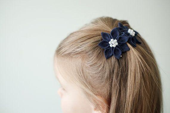 Dark blue flower hair clips  Girl kanzashi by lefthandedcraftclub, $9.99