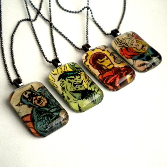 The Avengers Necklace Set Upcycled Marvel Comics by ComicGeekery, $40.00