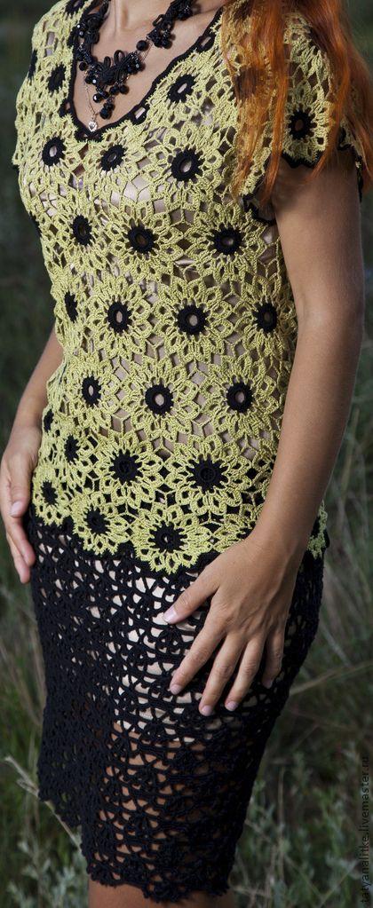 Chorrilho de ideias: Vestido rosetas verde e preto em crochet | rochii crosetate | Pinterest | Plantas y Jardín, Inspiración y Vestidos de ganchillo
