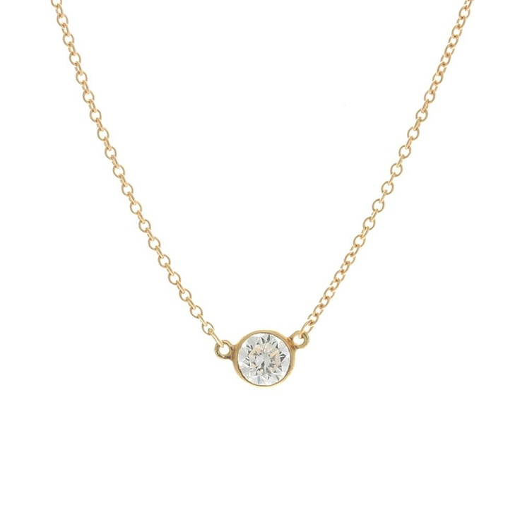 Tiffany Co. Elsa Peretti Diamond Solitaire pendant    Simple and elegant