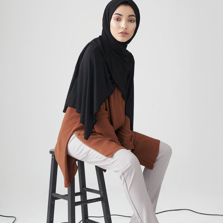 INAYAH | We carefully select the highest quality of fabrics, hues and stitchwork to represent modern and minimalist fashion and cuts - Rust #Collarless #Midi with #Slits + Grey Straight Leg #Trousers + Black Rayon Blend Jersey Hijab - to be restocked soon + Medium Nude Soft Cotton #Scrunchy www.inayah.co