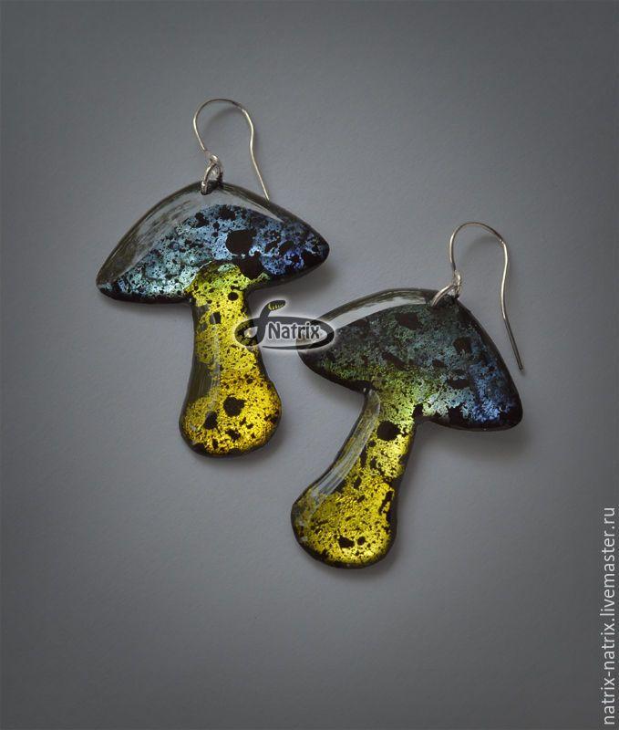 Epoxy earrings Mushrooms | Купить Яркие серьги из ювелирной смолы Желтые грибы - серьги, купить серьги