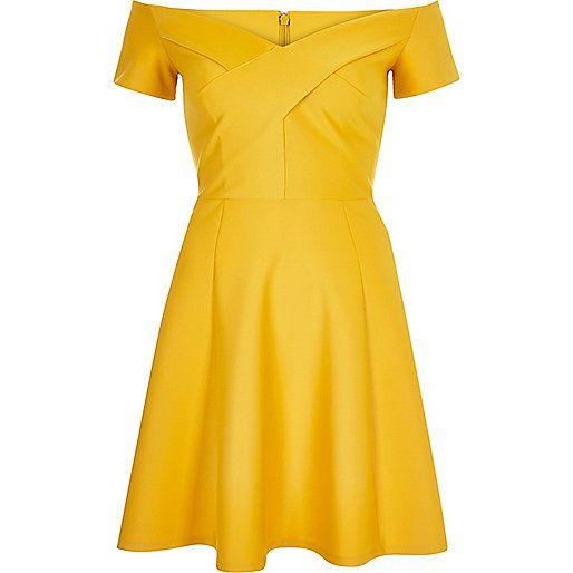 Yellow scuba bardot skater dress - skater dresses - dresses - women