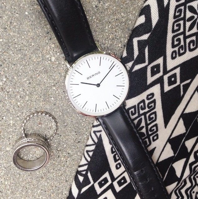 Classic black and silver combination; Watch and rings