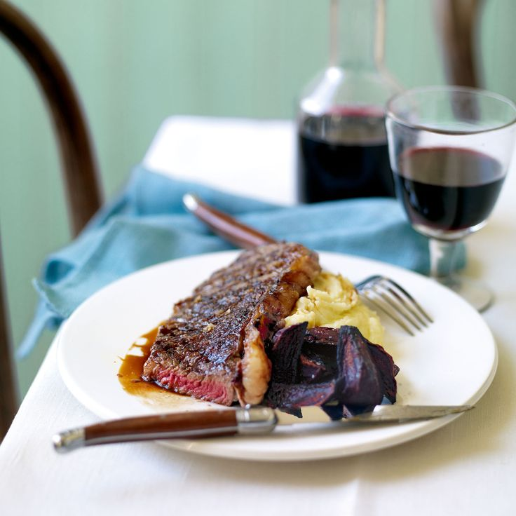 Pomegranate Molasses Griddled Steak, with Roasted Beetroot and Garlic Mash - Woman And Home